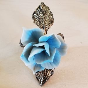 Other - Ceramic Blue Rose with Iron Base